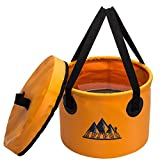 Collapsible Bucket Camping Water Storage Container with Lid Portable Folding Wash Basin for Traveling Hiking Fishing Boating Gardening