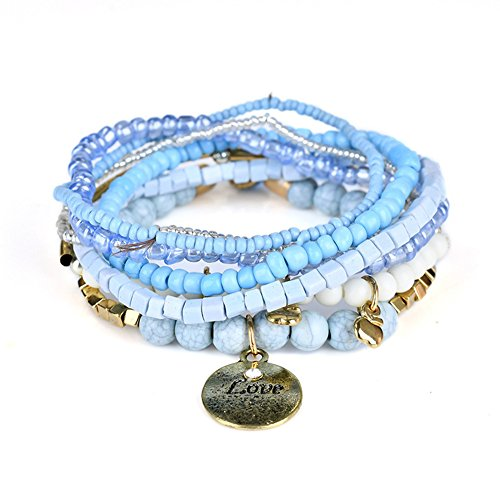 Rhapsody Crystal Pendant - JAJAFOOK Bohemian Stretch Beaded Love Coin Pendant Wrap Bangle Stacked Bracelets Sets for Women, Stack of 6