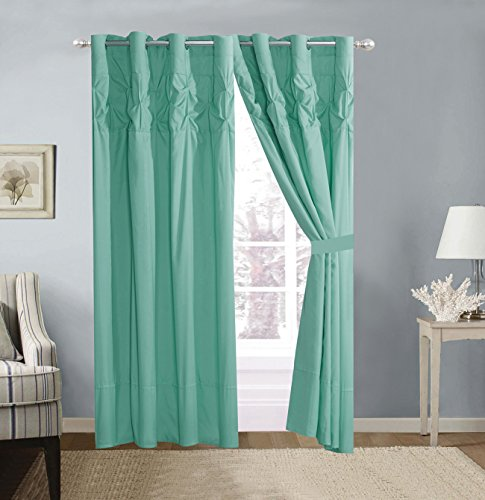4 Piece Solid Turquoise Blue Double-Needle Stitch Pinch Pleat Grommet Window Curtain Set 108 x 84-inch, 2 Panels and 2 Ties