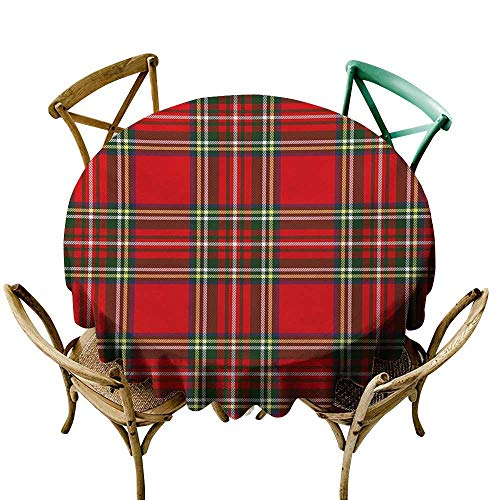 Small Round Tablecloth 60 inch Plaid,European Western Culture Inspired Abstract Irish Pattern Vintage Classical Design,Multicolor 100% Polyester Spillproof Tablecloths