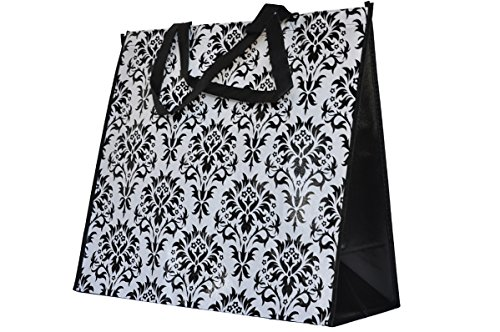 ReBagMe™ Extra Large Very Strong Reusable Grocery Bag - Laminated Recycled Shopper Tote - Very Large Gift Bag - Great Waterproof Beach Bag (19x17x8 Inches, Damask)