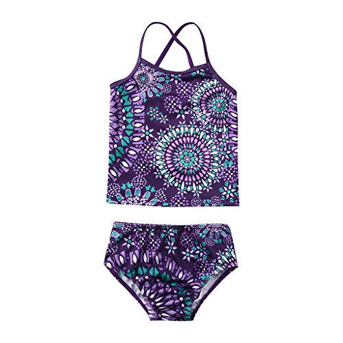 Girls' Beach Sport 2-Piece Banded Tankini Swimsuit, Mitiy Toddler Bathing Suits