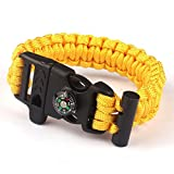 Paracord Survival Bracelet Rope, TRENDINAO New Paracord Survival Bracelet Rope Flint Fire Starter Compass Whistle (Yellow)