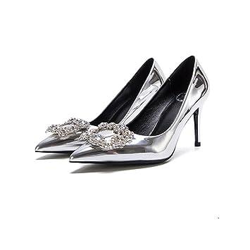 8cm Silberne Brautschuhe Hohe Absatze Feine Ferse Flacher Mund