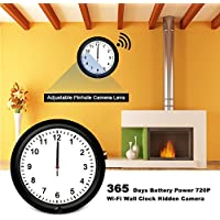 Surveillance Hidden Camera WiFi Wall Clock 10inch with One Year Battery Power 720P HD Live View Security Spy Camera Remote Internet Access IP Nanny Camera Camera Lens Adjustable and Motion Detect