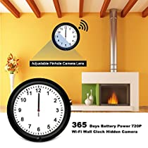 Hidden Camera WiFi Fuvision 10inch Wall Clock Camera HD Live View One Year Battery Power Remote Internet Access by App IP Nanny Camera with Camera Lens Adjustable and Motion Detection[Video Only!]