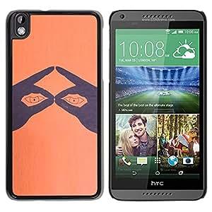 YOYOYO Smartphone Protección Defender Duro Negro Funda Imagen Diseño Carcasa Tapa Case Skin Cover Para HTC DESIRE 816 - dedos hacen ojos