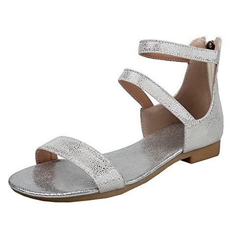 AalarDom Womens Open-Toe Low-Heels PU Solid Zipper Sandals Silver Vdv48