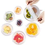 Silicone Stretch Lids Huggers Covers reusable for food with IMPROVED GRIP SEALER BPA free 6 Pack of Various Sizes by ExcelGadgets