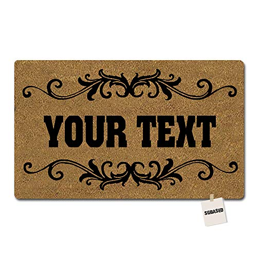 Monogram Font Frame - SGBASED Personalized Your Text Door Mat Custom Monogram Doormat Black Frame Mat Entrance Floor Decorative Rug Doormat Non-Woven Fabric (23.6 X 15.7 inches)