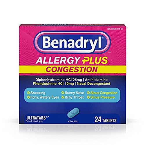 Benadryl Allergy + Congestion, 24 Tablets Each (Pack of 4) (Diphenhydramine Hci 25 Mg Phenylephrine Hci 10 Mg)