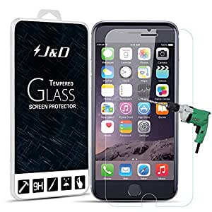 iPhone 6s Plus Screen Protector, J&D Apple iPhone 6s Plus Glass Screen Protector [Tempered Glass] HD Clear Ballistic Glass Screen Protector for Apple iPhone 6s (iPhone 6s, 1 Pack Temper Glass)