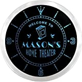 ncph0622-b MASON'S Home Theater Movie Bar Beer LED Neon Sign Wall Clock