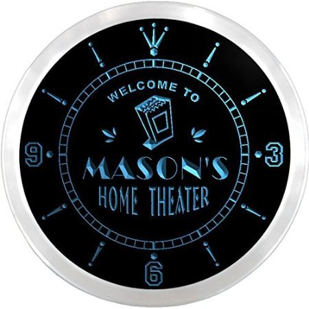 ncph0622-b MASON'S Home Theater Movie Bar Beer LED Neon Sign Wall Clock by Click8