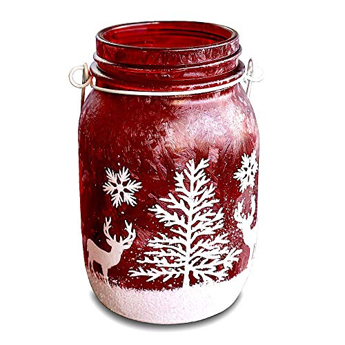 (Quasimoon PaperLanternStore.com Blowout 16 oz Red Frosted Glitter Christmas Mason Jar Hanging Candle Holder for Garden Courtyard Landscape Decoration)