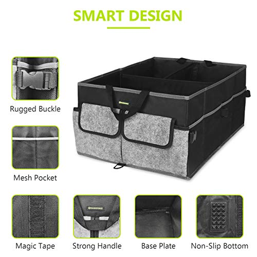 HAWKFORCE Organizer for Trunk, Heavy Duty Design with Folding Interlayer Compartments, Non Slip Bottom and Securing Straps, Multi Portable Trunk Organizer for any In-vehicle Organization Needs(Black)