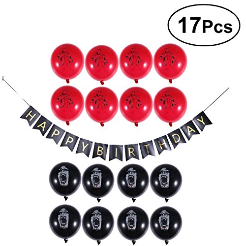 Halloween Zombie Party Supplies Set Ballons Banners Happy Birthday Decoration 17PCS (Black and Red) for $<!--$10.29-->