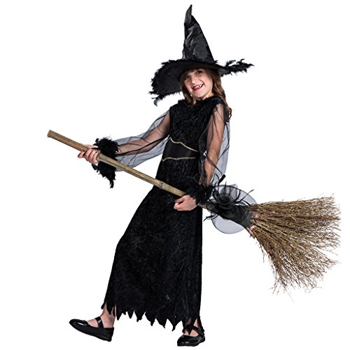 FantastCostume Child's Story Book Halloween Feather Witch Costume(Black, Large)