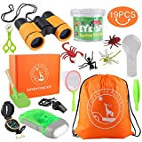 GTPHOM Outdoor Explorer Kit Gifts Toys - 19 Pieces Birthday Christmas Present for 3-10 Years Old Boys Girls Adventure STEM Backpacking Compass Binocular Camping Bug Catcher Pretend Play for Kids