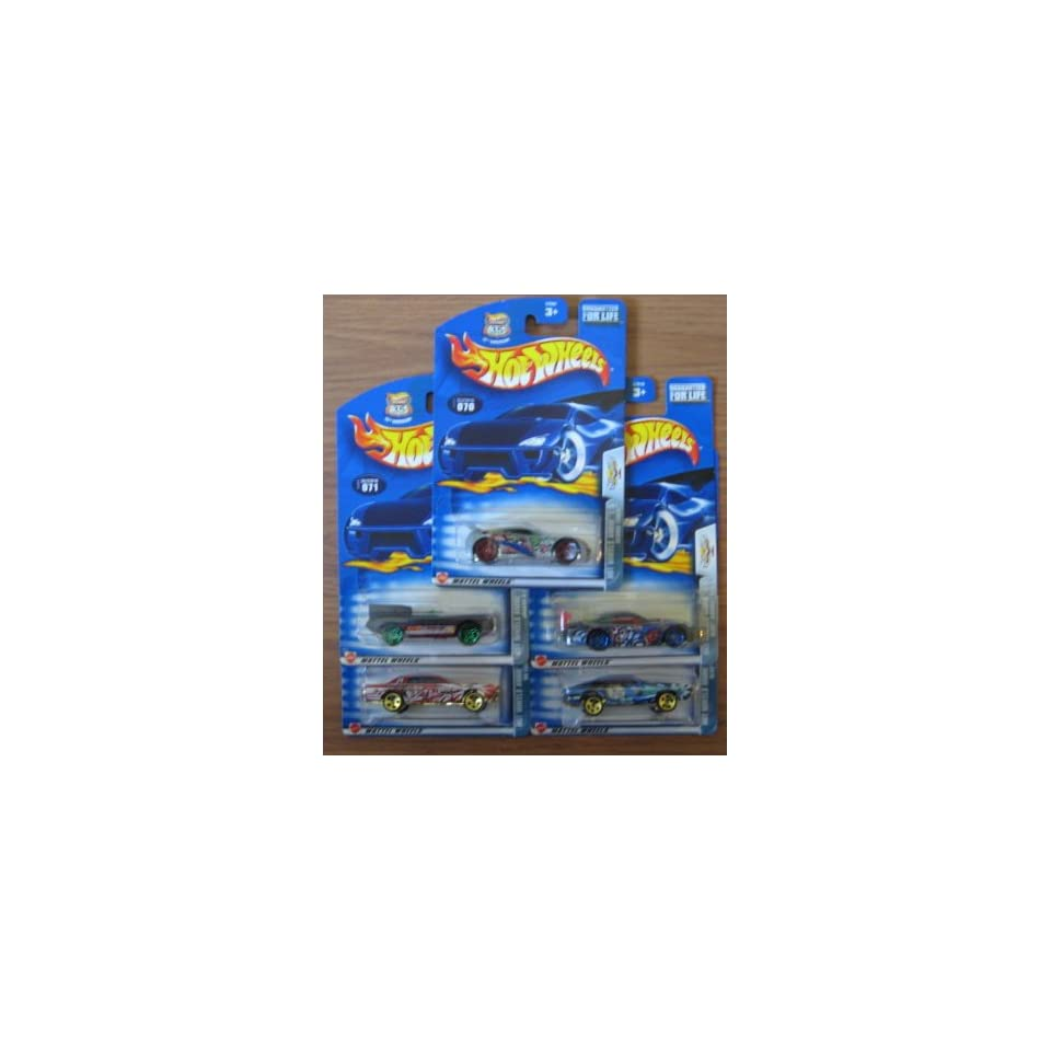 Hot Wheels 2003 Anime Series COMPLETE Set   Seared Tuner, Jaguar D Type, 68 Cougar, Olds Aurora GTS 1, Olds 442