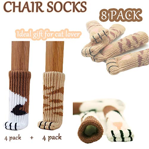 - Superemed 8PCS (2 Sets) Chair Socks Fancy Table Leg Pads with Cute Cat Paws Design, Reliable Furniture and Floor Protector, 2 Different Patterns 8 Socks