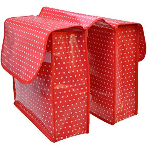 Filmer 46.359 Fahrrad Doppeltasche - Gepäckträgertasche - rot / weiß gepunktet