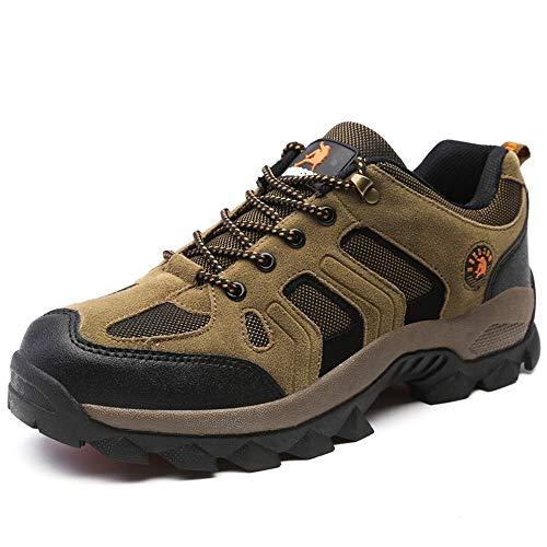 color Durable Zapatos A Los Transpirable Antideslizante Marrón Para Tamaño Eu Hombre Golpes Marrón Blanda Resistente Suela 46 Calzado Qiusa AOqPq