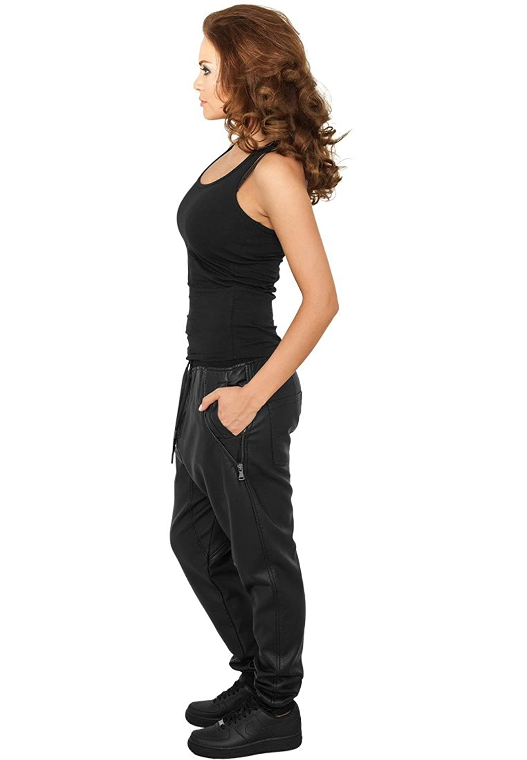 Urban Classic black Ladies Deep Crotch Leather Imitation Pants TB794