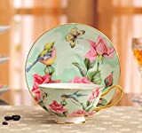 European Bone China Hand Painting Flower Bird Royal Court Tea Cup And Saucer Green