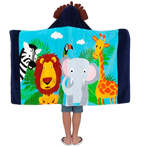 Yayme! Kids Jungle Animal Hooded Towel for Toddlers | Cotton Robe Perfect Beach Cover-up | Lion Costume for Boys | Toddler Towels | Poncho with a Hood Used as a Bathrobe After a Bath or Swimming -