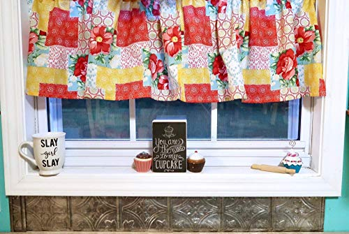 "Patchwork Farmhouse Cotton Valance Sale Cotton Window Curtain Treatment 60""W x 15""L"