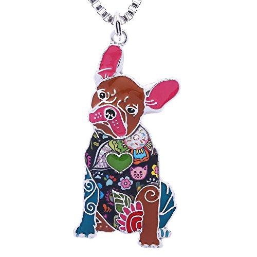 Luckeyui French Bulldog Gifts Necklace for Women Handmade Enamel Lovely Pets Dog (Bulldogs Enamel)