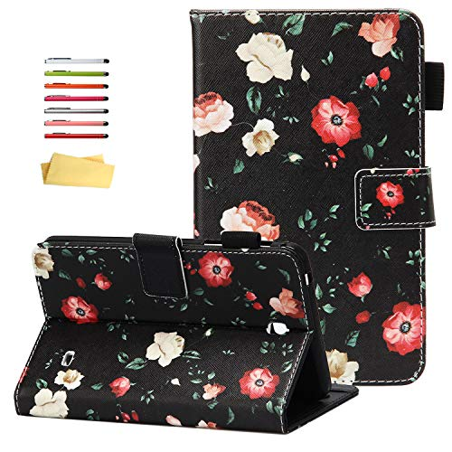 "UUcovers Case for Samsung Galaxy Tab 4 7.0 & Nook 7.0"" 2014 Cover (SM-T230/ SM-T230NU/ T231/T235), Embossed PU Leather Magnetic Folio Stand TPU Wallet with Pocket Cards Holder, Black Butterfly Flower"