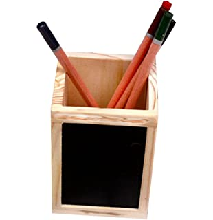 cosanter pencil pen pot holder with blackboard wooden square office supplies container organizer