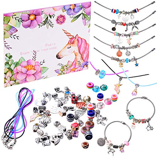monochef DIY Charm Bracelet Making Kit, Jewelry Making Supplies Bead Snake Chain Jewelry Gift Set for Girls Teens]()