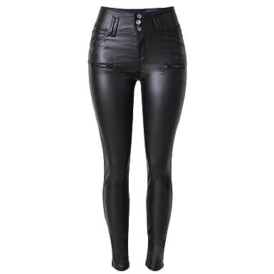 Ladies Women Leather Look High Waist Leggings Wet Look Trousers Slim Fit 6-16 UK