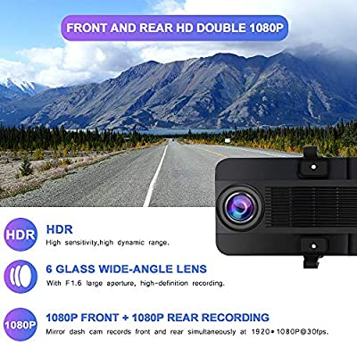 Mirror Dash Cam 1080P Front and Rear Dual Lens Backup Camera,12 Inch IPS Full Touch Screen Mirror Camera,170° Wide Angle and Night Vision: Car Electronics