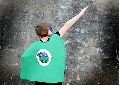Purple Ninja Turtle Super Hero Cape & Mask - Blue and Green Super Hero Cape, Super Hero Mask & Cape, Ninja (Toddler Ninja Costume)