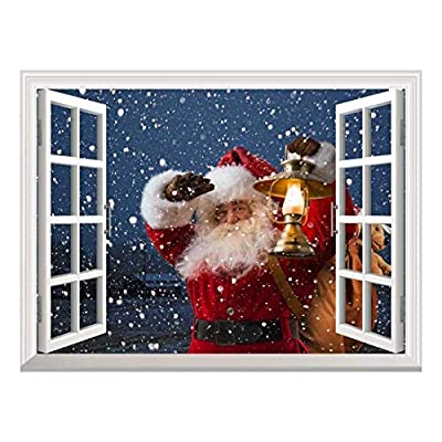 That You Will Love, Gorgeous Piece, Removable Wall Sticker Wall Mural Santa Claus Carrying Gifts Outside of Window on Christmas Eve Creative Window View Wall Decor