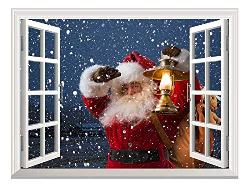 wall26 Removable Wall Sticker/Wall Mural - Santa Claus Carrying Gifts Outside of Window on Christmas Eve - Creative Window View Home Decor/Wall Decor - 24