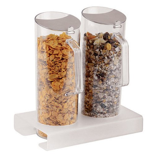 APS Paderno World Cuisine Plexiglass Cereal Jug Duo and 11-Inch Tall Base, (Double Cereal Dispenser)