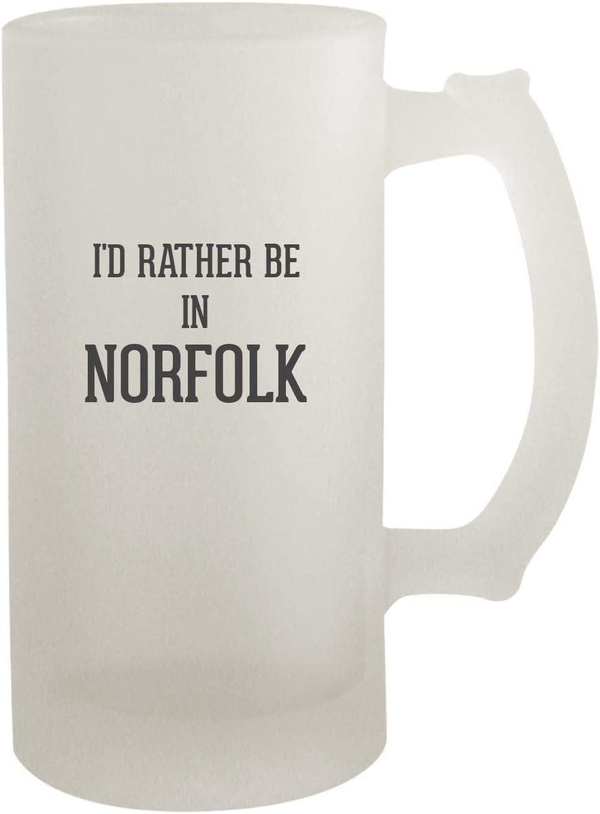 I'd Rather Be In NORFOLK - Frosted Glass 16oz Beer Stein