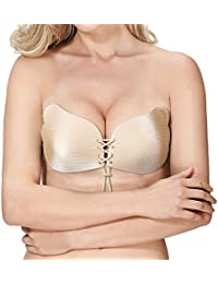 Adhesive Bra,Push Up Strapless Bra, Reusable Sticky Backless Invisible Bra for Women