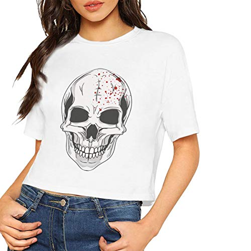 Halloween Mask Clipart Sexy Fallow Exposed Navel T Shirts Women's Fashion Summer T Shirt White -