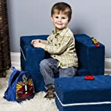 Jaxx Zipline Modular Kids Chair & Ottoman / Fold-Out Lounger, Blueberry