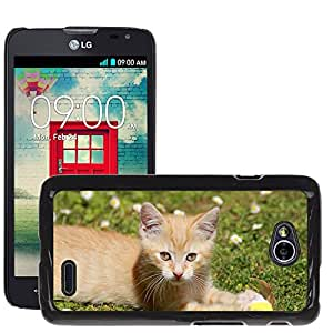 Hot Style Cell Phone PC Hard Case Cover // M00113574 Kitten Hangover Cat Predator Red // LG Optimus L70 MS323