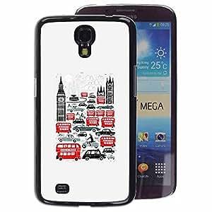 A-type Arte & diseño plástico duro Fundas Cover Cubre Hard Case Cover para Samsung Galaxy Mega 6.3 (Symbols Double Decker Big Ben)