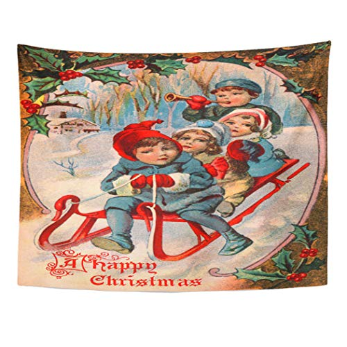 Emvency Wall Tapestry Christmas Children Playing in The Snow Winter Sleigh Scene 1910 Currier and Ives Vintage Victorian Decor Wall Hanging Picnic Bedsheet Blanket 80x60 Inches