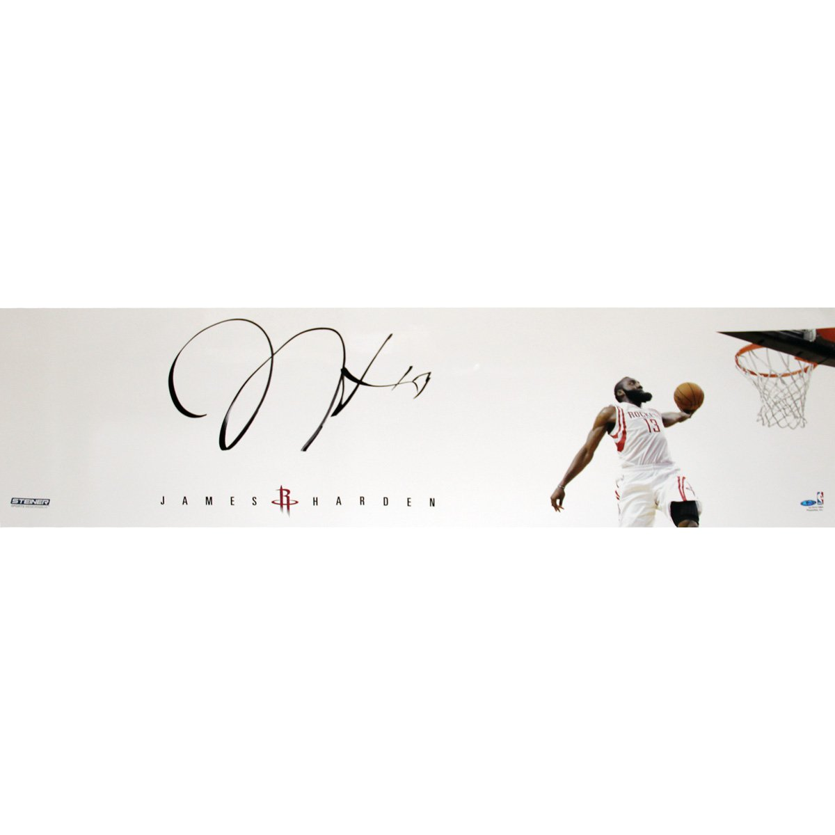 NBA Houston Rockets James Harden Dunk Signed in Black Photograph, 12 x 48-Inch
