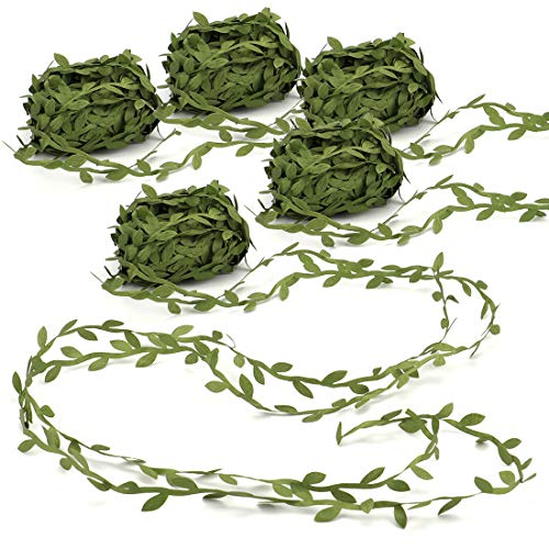 Tosnail 5 Roll Total 109 Yards Olive Green Leaves Leaf Trim Ribbon Artificial Vines Leaf Garland - Great for DIY Craft Gift Wrapping Party Wedding Home Decoration Colored Satin Ribbon Trim